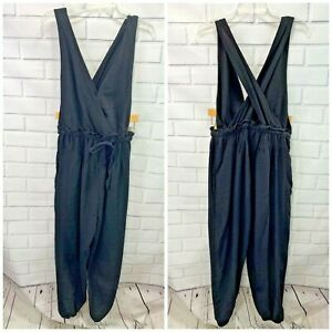Free People All Natural Jumpsuit Size Small Women's Black Drawstring Waist Woven