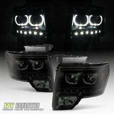 Black Smoke 2009-2014 Ford F150 SMD LED Halo Projector Headlights 09-14 Pair Set