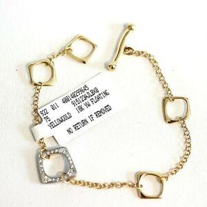ROBERTO COIN NEW Oro Classic 18K 2Tone Gold & Diamond Floating Station Bracelet