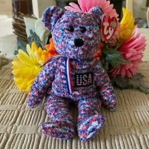 Ty 2000 USA Patriotic Bear Beanie Babies Plush Toy, NWT