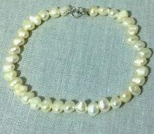 Vintage retro 925 silver white pearl 7.5 inch bracelet Bridal Wedding jewellery