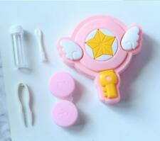 Cute Pink Contact Lens Travel Case Box Container Kit Set Holder With Mirror