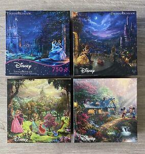 4 Disney Thomas Kinkade Puzzle Beauty Beast, Mickey, Sleeping Beauty, Cinderella