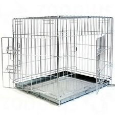 Dog Crate Double Door Transport Cage Car Van Collapsible Carrying Handles 2 Door