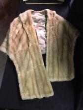 Vintage Light Brown Genuine Mink Fur Skinner Shrug Wrap