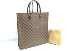 Auth Louis Vuitton Damier Sac Plat Hand Tote Bag Brown 7H300820#