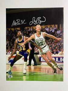 Larry Bird Magic Johnson autographed 11x14 photo Celtics Beckett Witnessed BAS