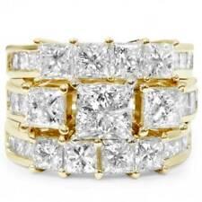 Yellow Gold Over Engagement Ring Set Princess Cut 3.00 Ct Enhanced Diamond 14K
