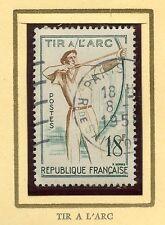 STAMP / TIMBRE FRANCE OBLITERE N° 1163 JEUX TRADITIONNELS TIR A L'ARC