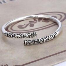 Handmade Men Jewelry Gift Thai Silver Vintage Women Bangle Bracelet Open Cuff