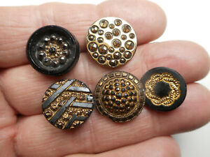 """Black Glass Lot of 5 Gold Luster Antique Buttons 5/8"""" RS #10"""