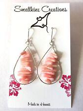 Pretty Pink Coral Teardrop Beach Style Dangle Sterling Silver Earrings