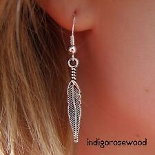 CLASSIC Southwestern Silver Feather Earrings on 925 Sterling Filled French Hooks