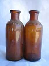 Set 2 Vintage Brown Glass Bottles 125 ml MILS Embossed Apothecary Antique Amber
