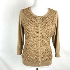 Talbots Cardigan Sweater Brown Ruffle Front Silk Blend Top Size Medium