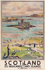 Scotland Highlands Islands vintage train travel poster repro 20x30