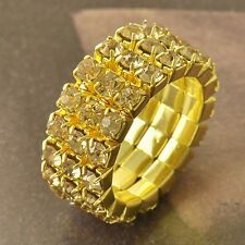 Champagne Cubic Zirconia 9K Yellow Gold Filled elastic Womens Ring,7 F5044
