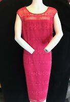 BNWT GINA BACCONI Lace Effect Fuchsia Pink Range Dress Size UK 22 RRP £250