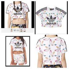 adidas Originals X Pharrell Williams Trefoil Surf Print Crop Top T Shirt White