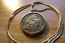 """Rare 1920's France Art Deco Antique Handsome Coin Pendant 24"""" Gold Filled Chain"""