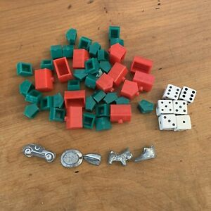Monopoly Extra Game Pieces Metal Tokens Dice House Buildings