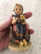"""Hummel Goebel Figurine """"Feeding Time� Little Girl & Chicks From Germany Bee V"""