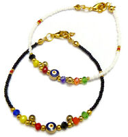 Evil Eye Bracelet With Gold & Coloured Beads Turkish Nazar Ottoman Greek Mati