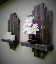 2 RUSTIC RECLAIMED FLOATING WALL SHELF SCONCE STORAGE ART DISPLAY UNIT FURNITURE