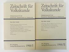 2 x Zeitschrift für Volkskunde 1988 84 Jahrgang Halbjahresschrift Otto Schwartz