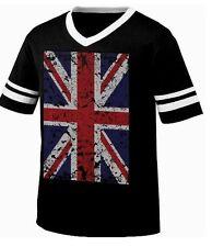 British Flag Union Jack Great Britain Oversized Distressed Men's Ringer T-shirt