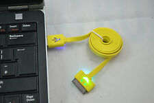 Yellow  Visable Flashing LED USB Sync Data Charger Cable iPhone 4G 4S ipad 2 3