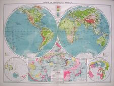 1934 LARGE MAP ~ THE WORLD IN HEMISPHERES WATER LAND VOLCANOES PHYSICAL