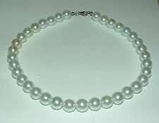 CHUNKY CREAM GLASS PEARL NECKLACE SILVER PLATED CLASP strand 18 INCH FRL