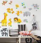 Jungle Animal Zoo Monkey Bird Wall Stickers Removable Decals Kids Nursery Decor