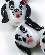 Lampwork Handmade White Black Dogs Head Beads 15x20mm