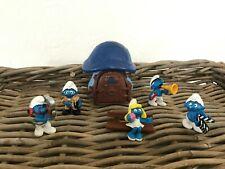 🎀 Ancienne Maison Des Schtroumpfs Peyo Vintage + 5 Figurines Schtroumpfs