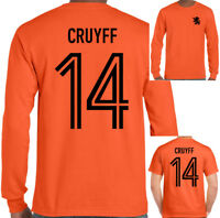 Johan Cruyff 14 da Uomo Retrò Holland Calcio Player T-Shirt Olandese Ajax Top