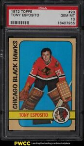 1972 Topps Hockey Tony Esposito #20 PSA 10 GEM MINT