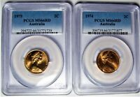 Australian Two Cent 1974 and 1975 - MS66RD - PCGS Graded