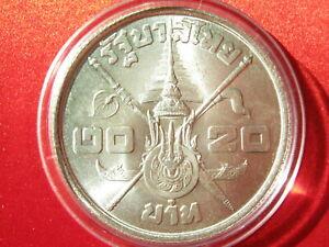 Thailand 1963, Rama IX. Birthday, 20 Baht Silber UNC (01062)