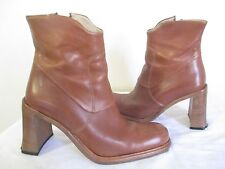 NELLO NEMBRO WOMENS BROWN LEATHER FASHION BOOTS CLASSIC PUMPS SZ EU 37 US 7