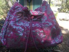 Kate Spade Silver / Pink Spring 2005 Edition Brocade Drawstring Bucket Handbag.