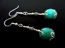 A PAIR SILVER PLATED  DANGLY  TURQUOISE BEAD EARRINGS. NEW.