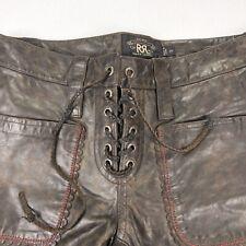 NEW RRL Double RL Ralph Lauren Women's Outlaw Fringe Moto Leather Pants • Sz 26