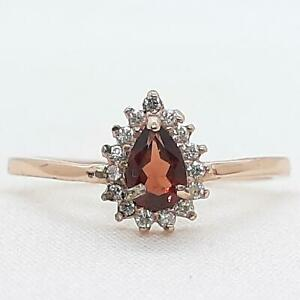 World Class .60ctw Garnet & Diamond Cut White Sapphire 14K Rose Gold 925 Ring