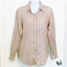 Tommy Bahama Women's Top Size 8 Long Sleeve Button Front Collared Tan Brown Pink