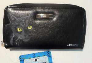 Black Cat Portrait Hand Painted Wallet for Women Vegan Leather