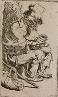 """Rembrandt van Rijn Etching On Van Gelder Paper """" Beggar Seated Warming Hands """""""