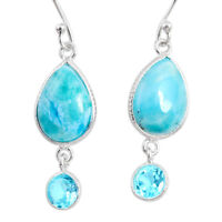 11.37cts Natural Blue Larimar Topaz 925 Sterling Silver Dangle Earrings R63658