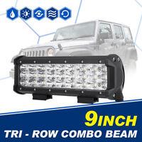 "9"" 270W TRI ROW CREE LED WORK LIGHT BAR COMBO DRIVING TRUCK PICKUP 4WD SUV 10"""